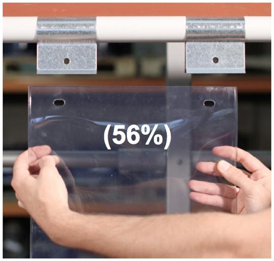 Swivel hinge curtain strip 56% overlap