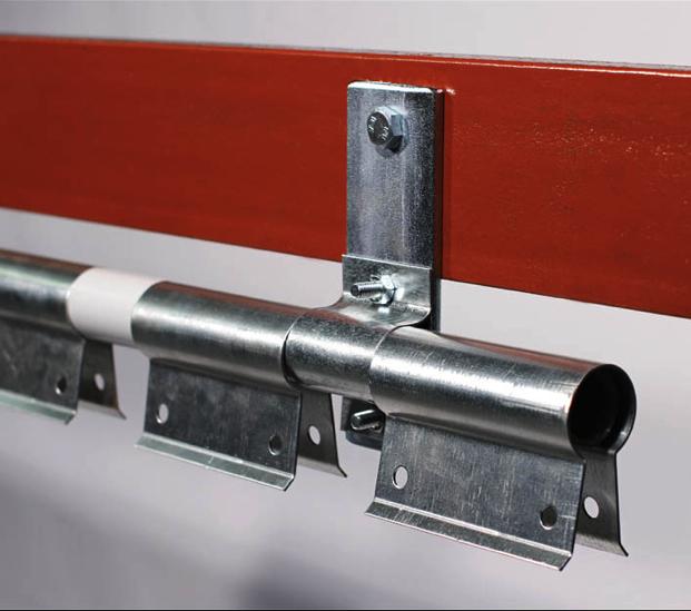 Swivel hinge strip curtain rail