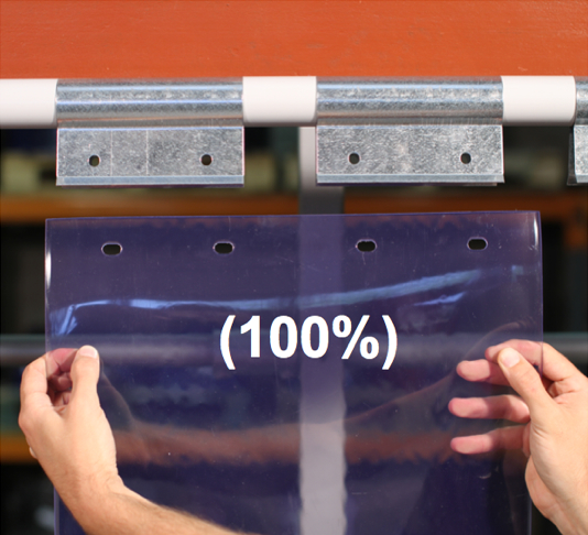 Swivel hinge curtain strip 100% overlap
