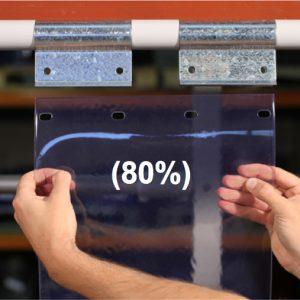 Swivel hinge curtain strip 80% overlap