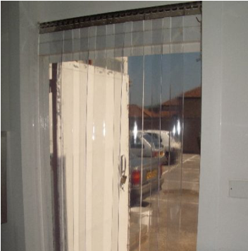 transparent pvc curtains on inside of open door