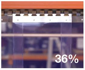 Hook on curtain strip 36% overlap