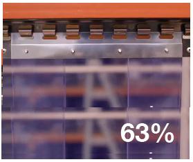 Hook on curtain strip 63% overlap