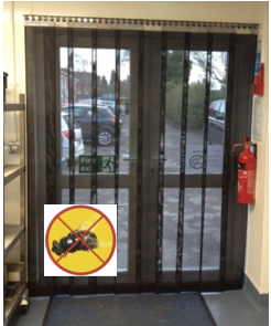 Fly screen door using flymesh insect curtain